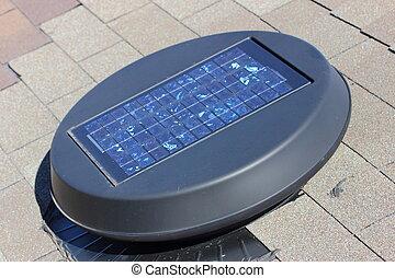 Solar Attic Fan - A close up view of a solar attic fan...