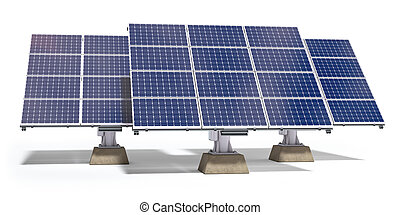 Solar batteries for a pure electricity and green energy isolated on white background.