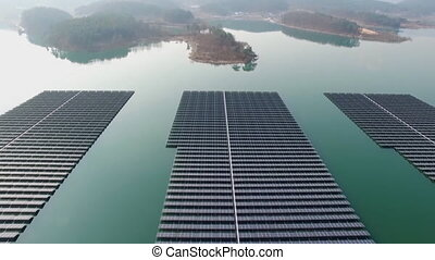 Solar batteries located on the lake