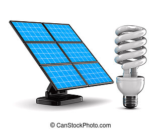 solar battery and bulb on white background. Isolated 3d...
