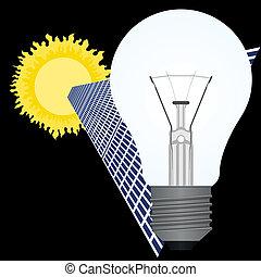 Solar battery and light bulb