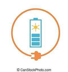 Solar battery as energy source - Solar battery in a circle...