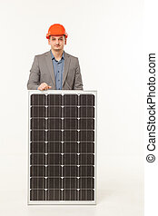 solar battery builder man
