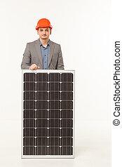 solar battery builder man