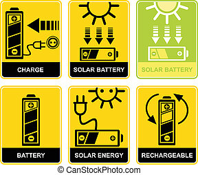 Set of vector signs - charge and recharge. Solar accumulator battery. Yellow and black icons. Pictograms.