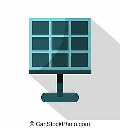 Solar battery icon, flat style