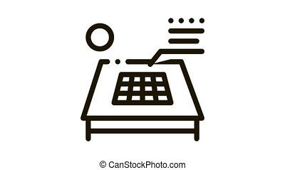 solar battery on roof Icon Animation. black solar battery on roof animated icon on white background