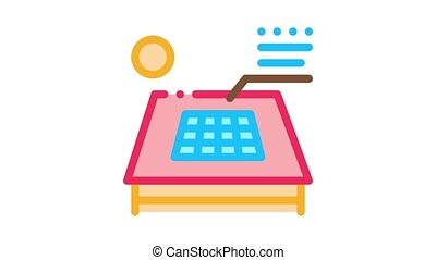 solar battery on roof Icon Animation. color solar battery on roof animated icon on white background