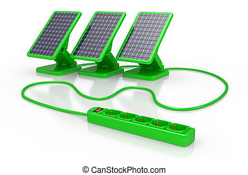 solar battery panel - 3d illustration of solar battery panel...