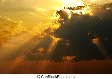 Solar beams - Magic solar beams coming out across clouds