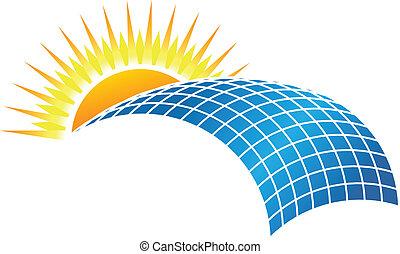 Solar Business - Sun in horizon over solar cell