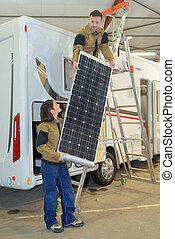 solar, caravana, instalación, taladro, técnico, paneles, panel