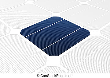 Solar cell against a drawing - Mono-crystalline solar cell...