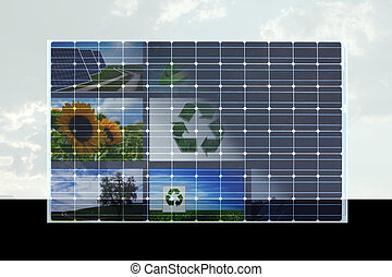 solar cell against cloudy sky with natural symbols on it