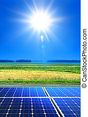 renewable energy - solar cell array in the field, renewable ...