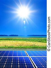 renewable energy - solar cell array in the field, renewable ...