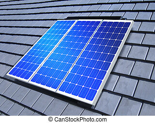 solar-cell array on roof - solar-cell array on the roof of...