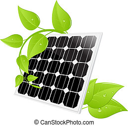Solar cell - Solar panel isolated on a white. Vector...