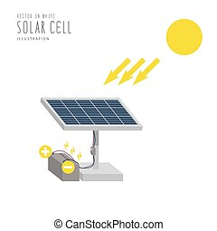 Solar cell flat vector.