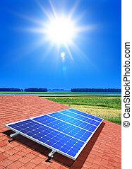 solar-cell, matriz, telhado