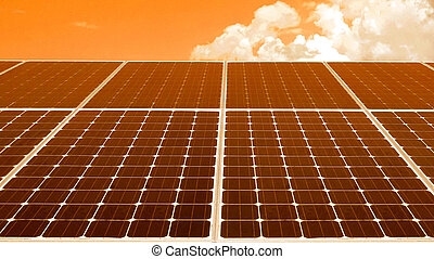 solar cell roof with orange sky