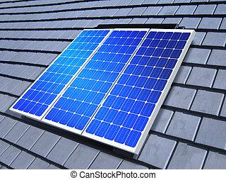 solar-cell, serie, techo