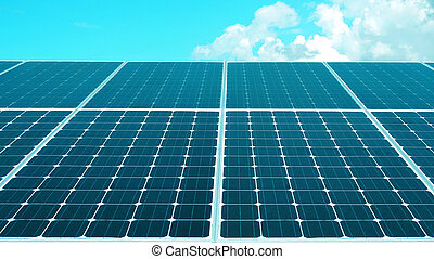 solar cell roof with blue sky