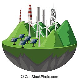 Solar cells and turbines in the mountains
