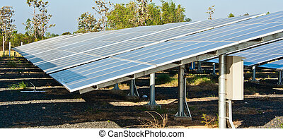 Solar cells generating electricity in the rural