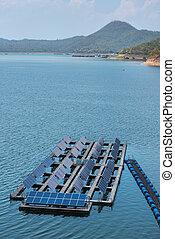 Solar cells on the lake of Srinagarindra Dam on Khwae Yai River Thailand