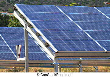 solar cells - blue ecological solar cells in a row
