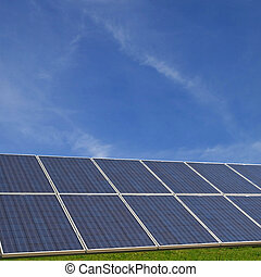Solar Cells - Solar cells with a radiant blue sky