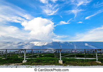Solar Cells - The Solar cells with blue sky background