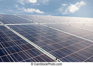 solar cells with blue sky and cloud