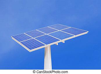 solar cells with blue sky