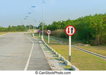 Solar cells street lighting and traffic signs.