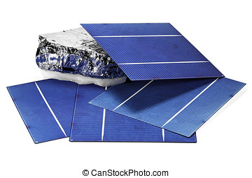 solar cells with polycrystalline silicon isolated on white...