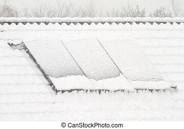solar collector in winter