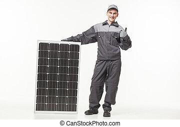 solar, construtor, isolado, fundo, branca, painel
