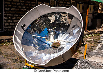 Solar cooker in the Himalaya mountains.