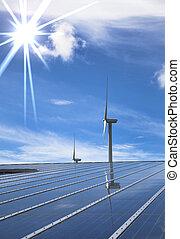 solar, e, dê energia corda, para, limpo, meio ambiente
