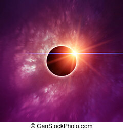 Solar Eclipse and Purple Nebula - Solar Eclipse with purple ...
