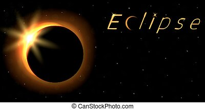 Solar eclipse card with text. Astronomical phenomenon of the closing of the shining sun by the moon.