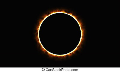 Solar eclipse, computer generated. Burning ring of fire, ...