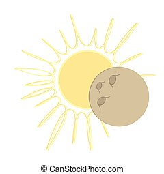 Solar Eclipse flat design - moon over sun