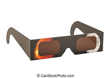Solar Eclipse Glasses, 3D rendering isolated on white...