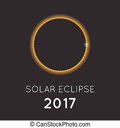 solar eclipse in august 2017, flat design vector with headline for use as poster or banner