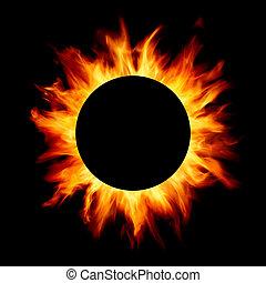 solar eclipse isolated on black background
