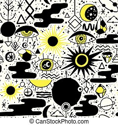 Solar Eclipse pattern - Hand drawn black and yellow solar...
