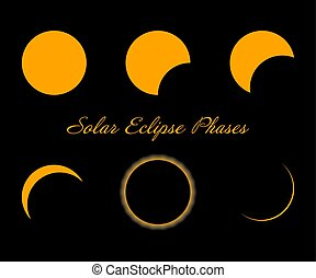Solar eclipse phases. Isolated on black background. Vector....
